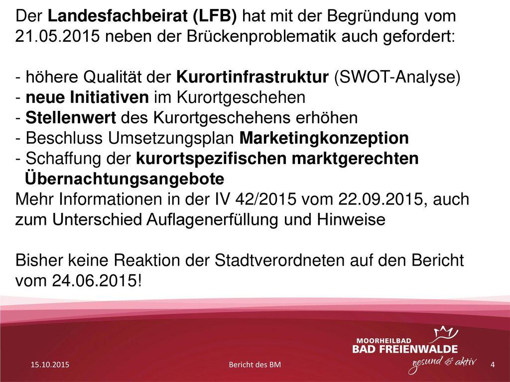 höhere Qualität der Kurortinfrastruktur (SWOT-Analyse)