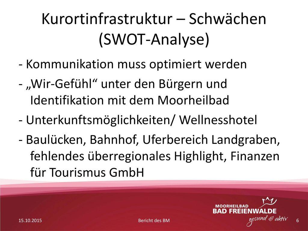 Kurortinfrastruktur – Schwächen (SWOT-Analyse)