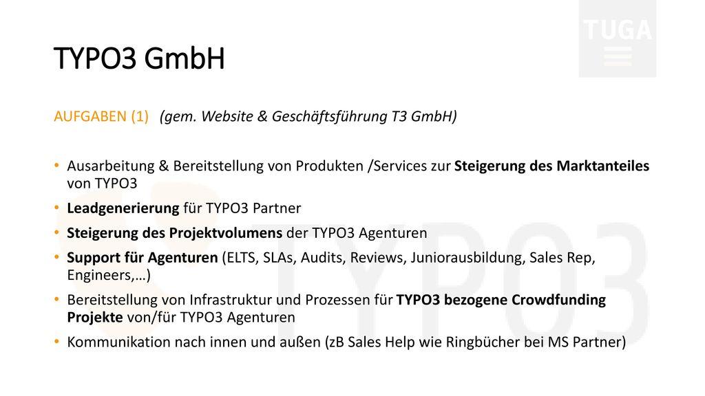 TYPO3 GmbH AUFGABEN (1) (gem. Website & Geschäftsführung T3 GmbH)