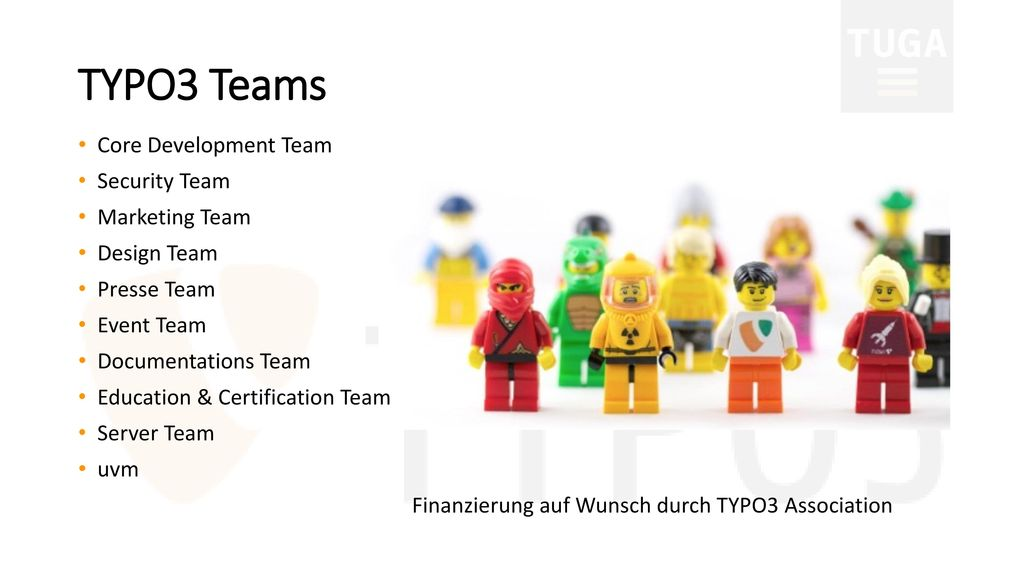 TYPO3 Teams Core Development Team Security Team Marketing Team