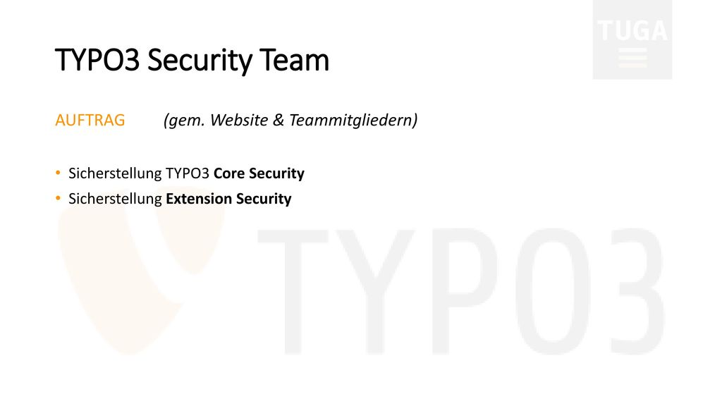 TYPO3 Security Team AUFTRAG (gem. Website & Teammitgliedern)