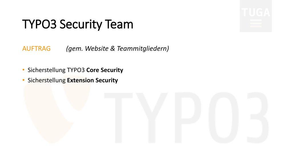 TYPO3 Security Team AUFTRAG (gem. Website & Teammitgliedern)