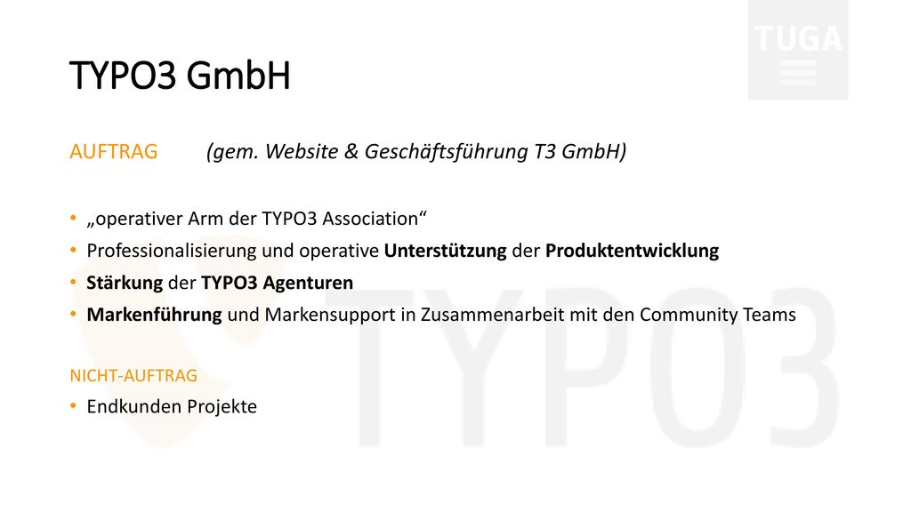TYPO3 GmbH AUFTRAG (gem. Website & Geschäftsführung T3 GmbH)