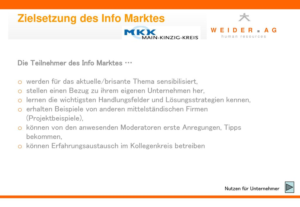 Zielsetzung des Info Marktes