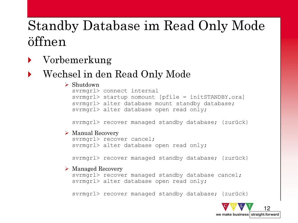 Standby Database im Read Only Mode öffnen