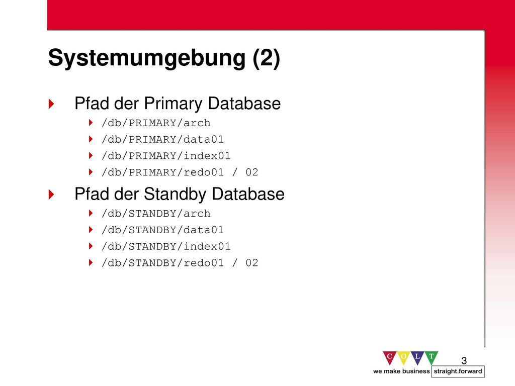 Systemumgebung (2) Pfad der Primary Database Pfad der Standby Database
