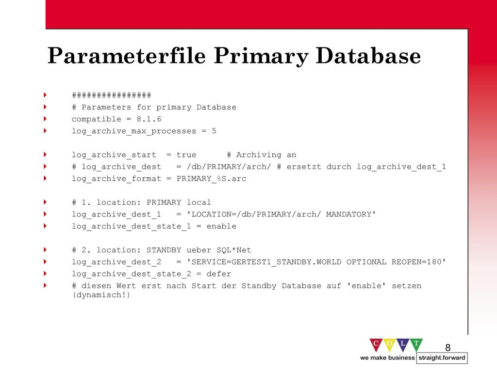 Parameterfile Primary Database