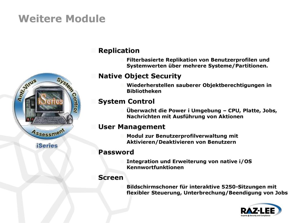 Weitere Module Replication Native Object Security System Control