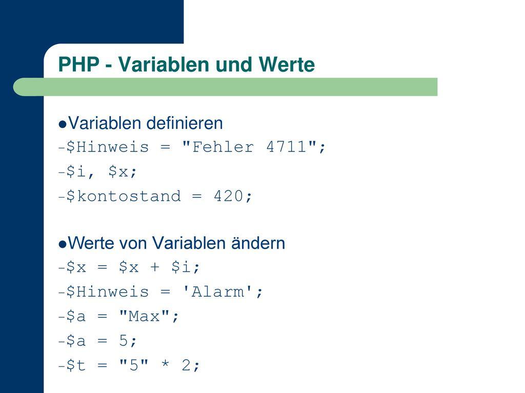 PHP - Variablen und Werte