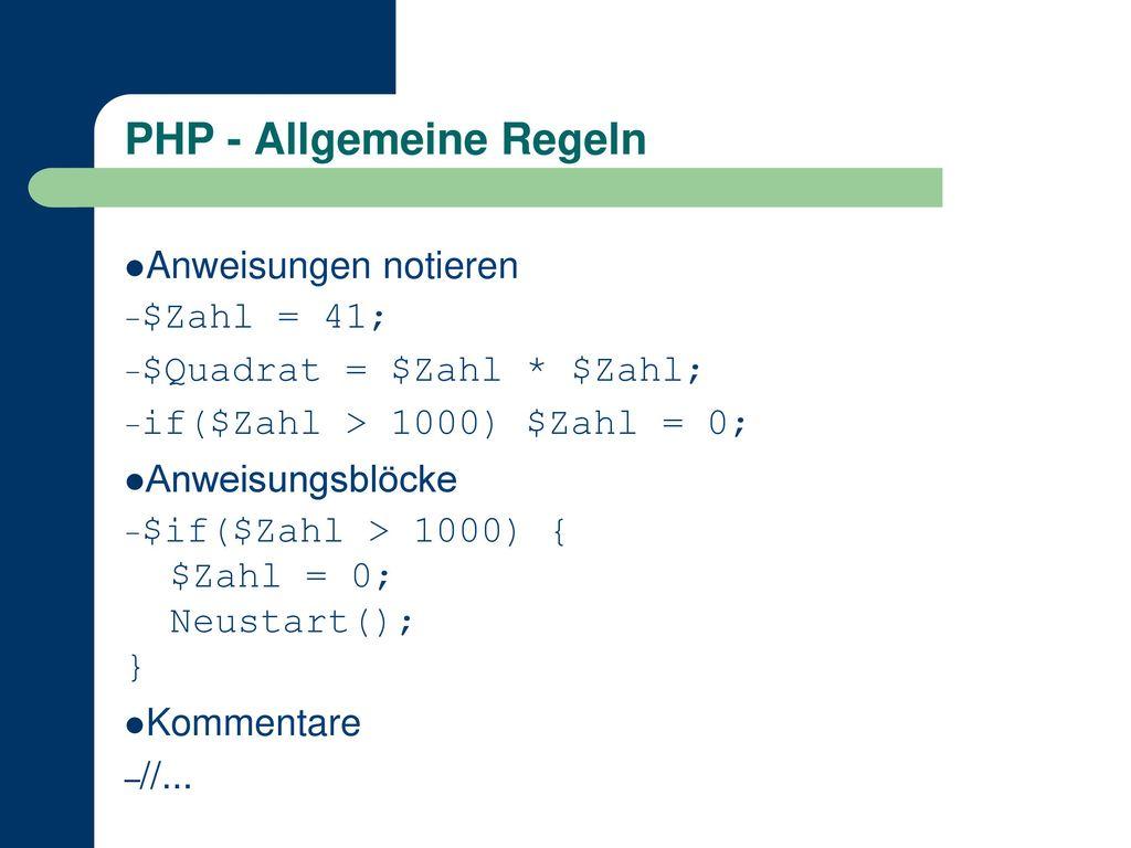PHP - Allgemeine Regeln
