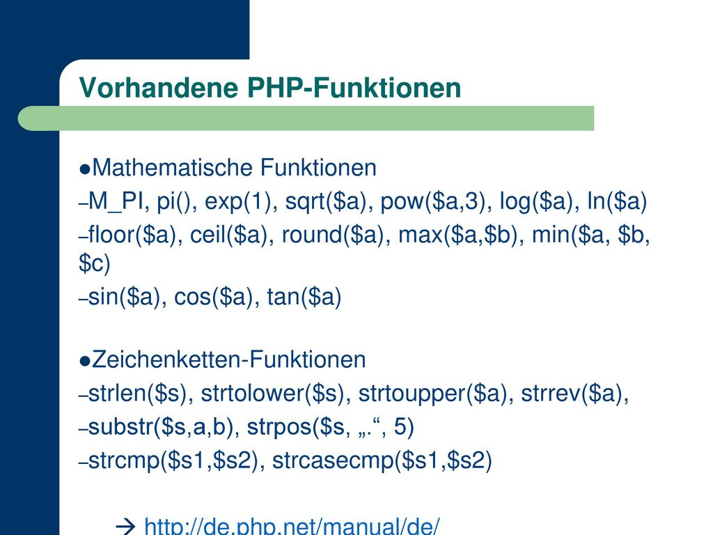 Vorhandene PHP-Funktionen