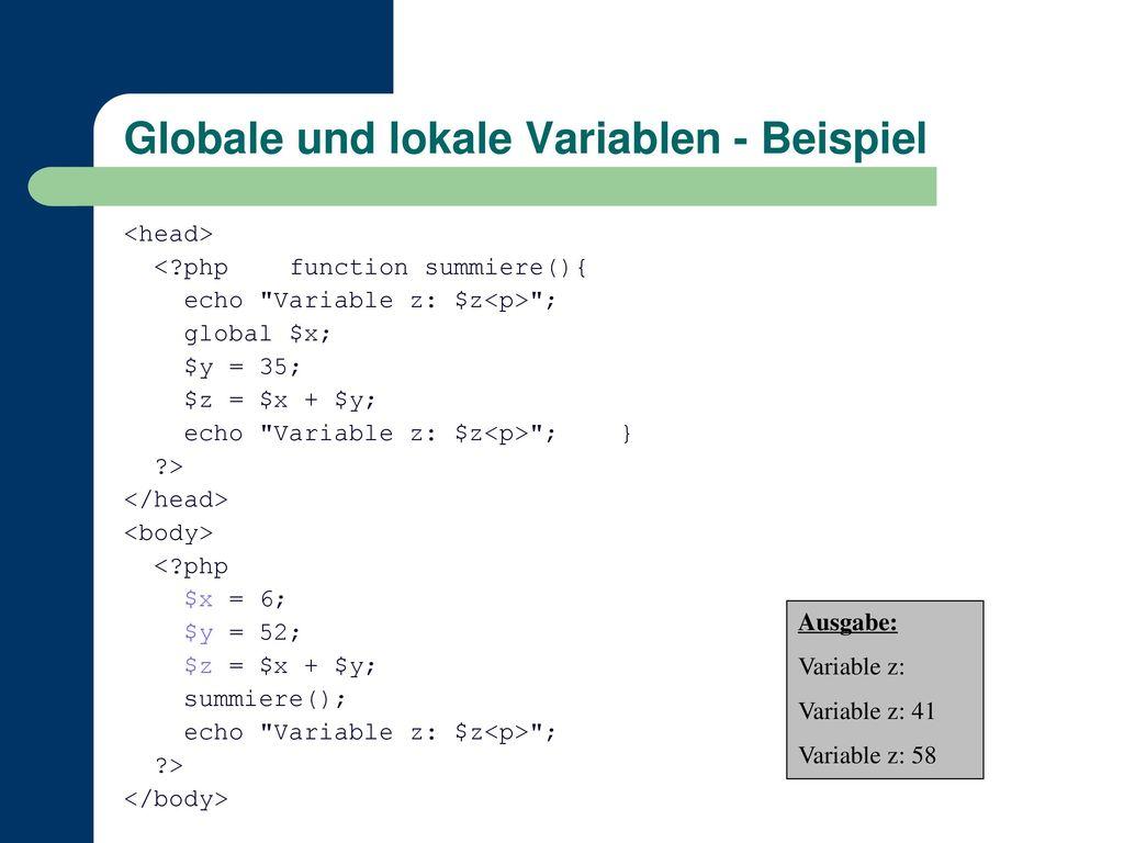Globale und lokale Variablen - Beispiel