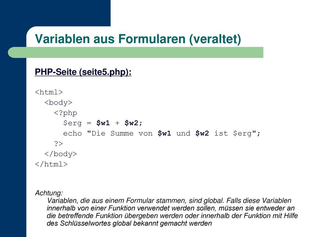 Variablen aus Formularen (veraltet)