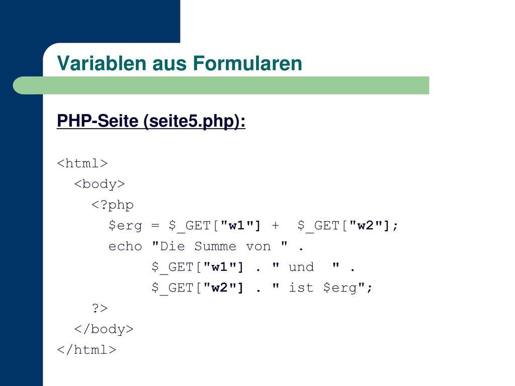 Variablen aus Formularen