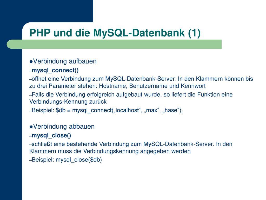 PHP und die MySQL-Datenbank (1)