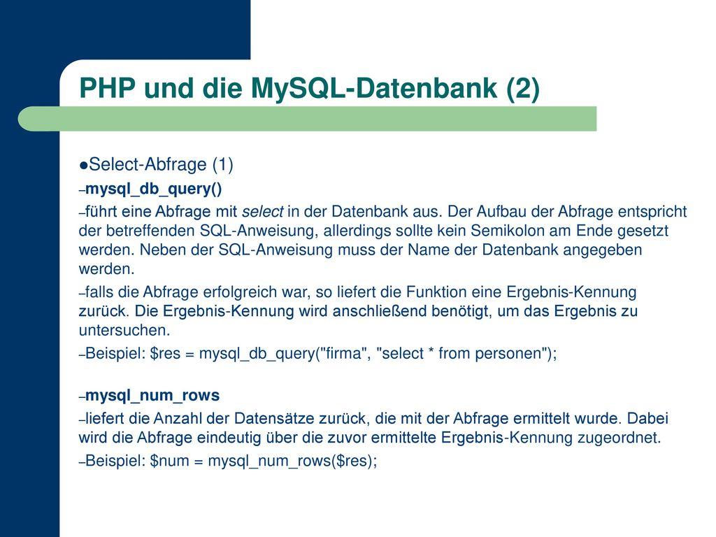 PHP und die MySQL-Datenbank (2)