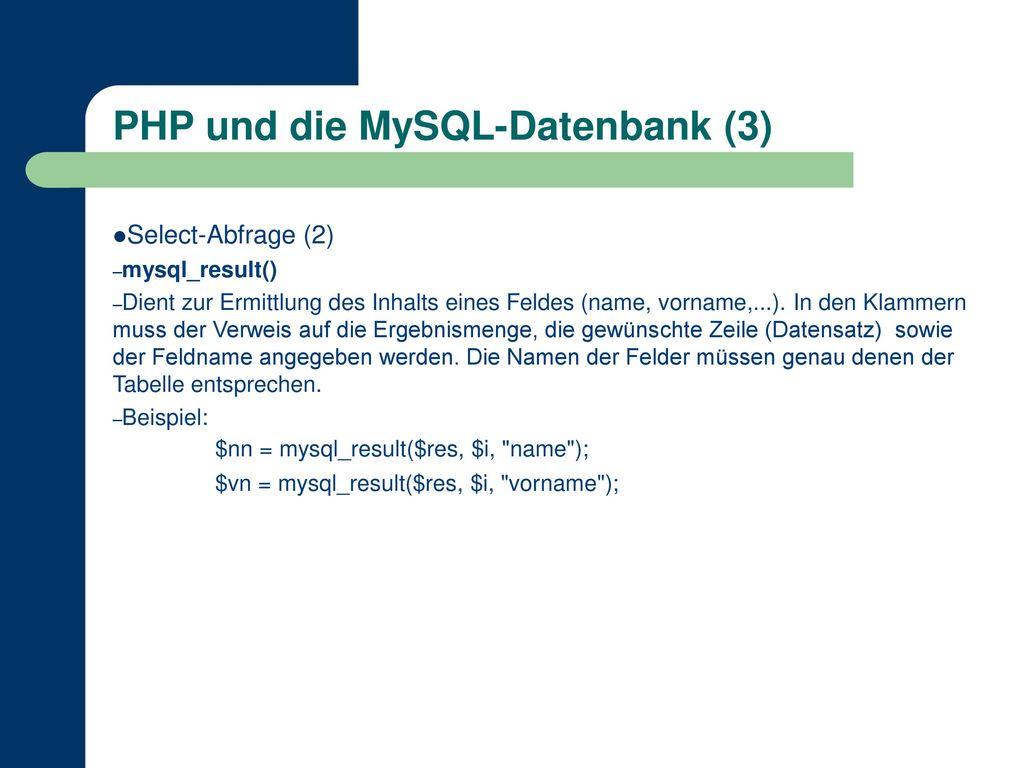 PHP und die MySQL-Datenbank (3)