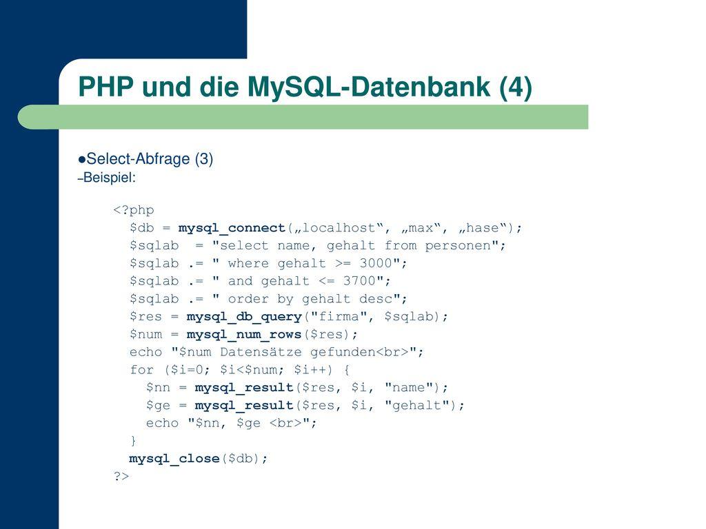 PHP und die MySQL-Datenbank (4)
