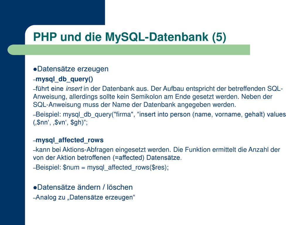 PHP und die MySQL-Datenbank (5)
