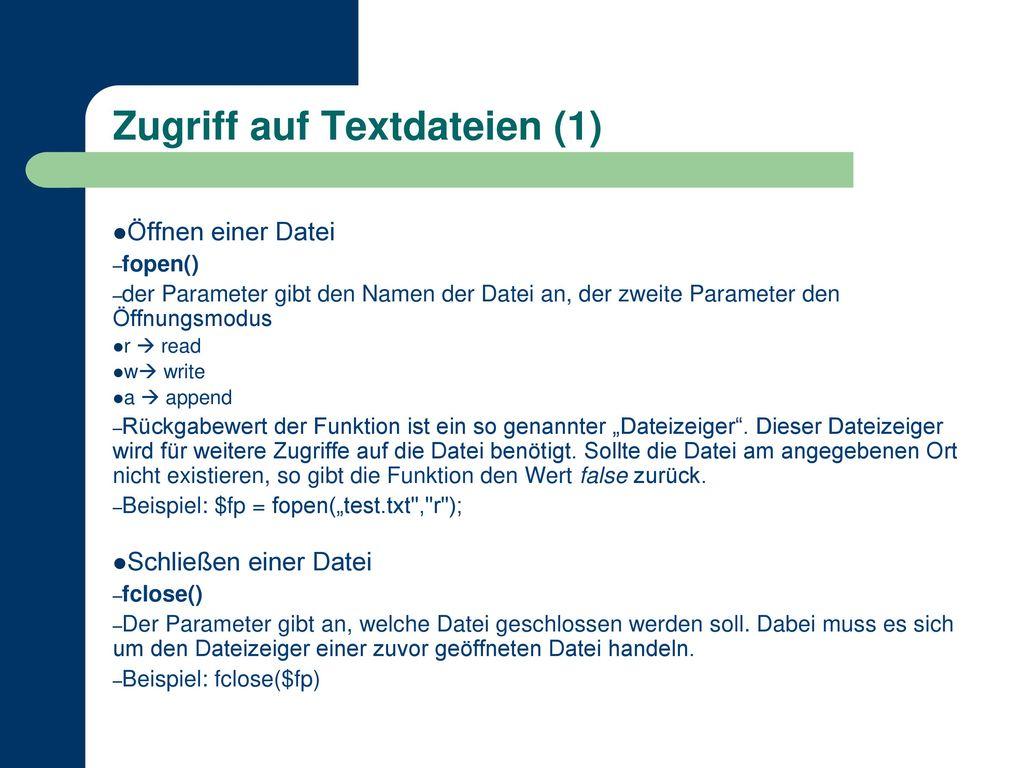 Zugriff auf Textdateien (1)
