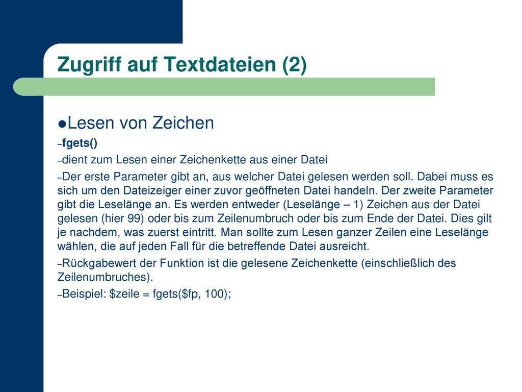 Zugriff auf Textdateien (2)