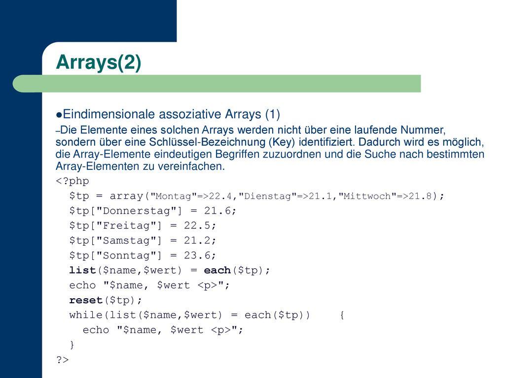 Arrays(2) 49 Eindimensionale assoziative Arrays (1)