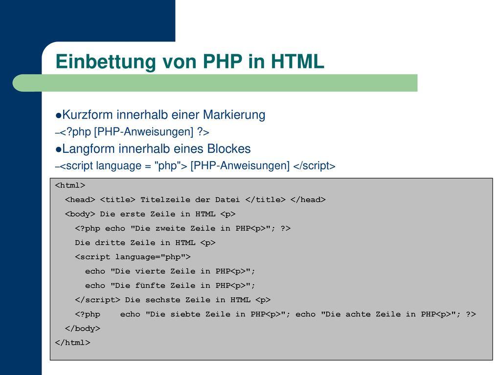 Einbettung von PHP in HTML