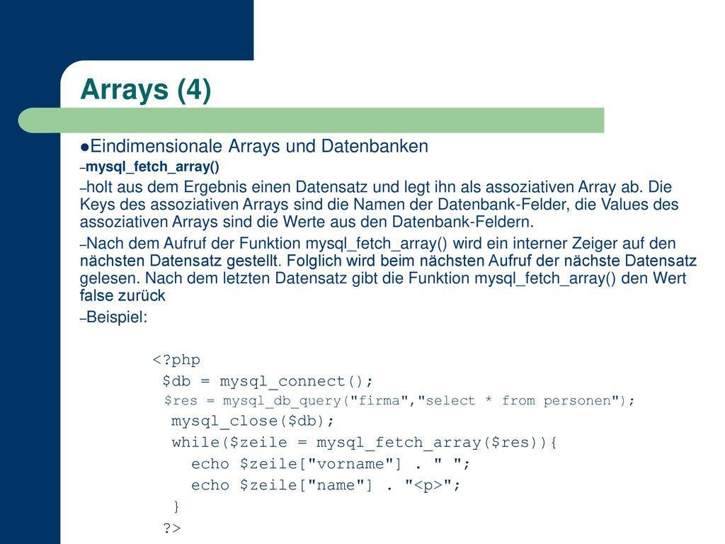 Arrays (4) Eindimensionale Arrays und Datenbanken