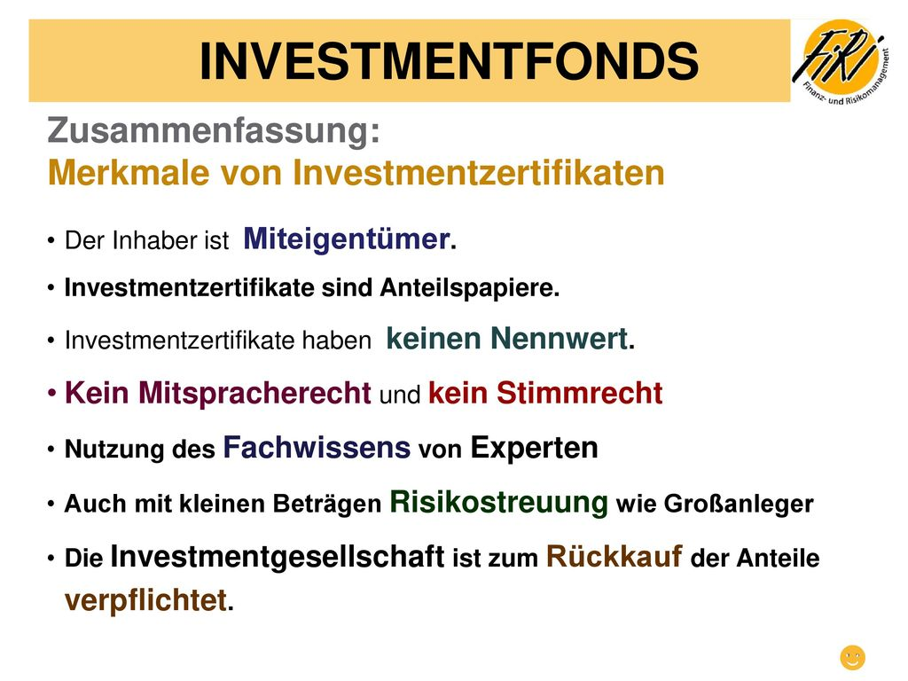 INVESTMENTFONDS ☻ Zusammenfassung: Merkmale von Investmentzertifikaten
