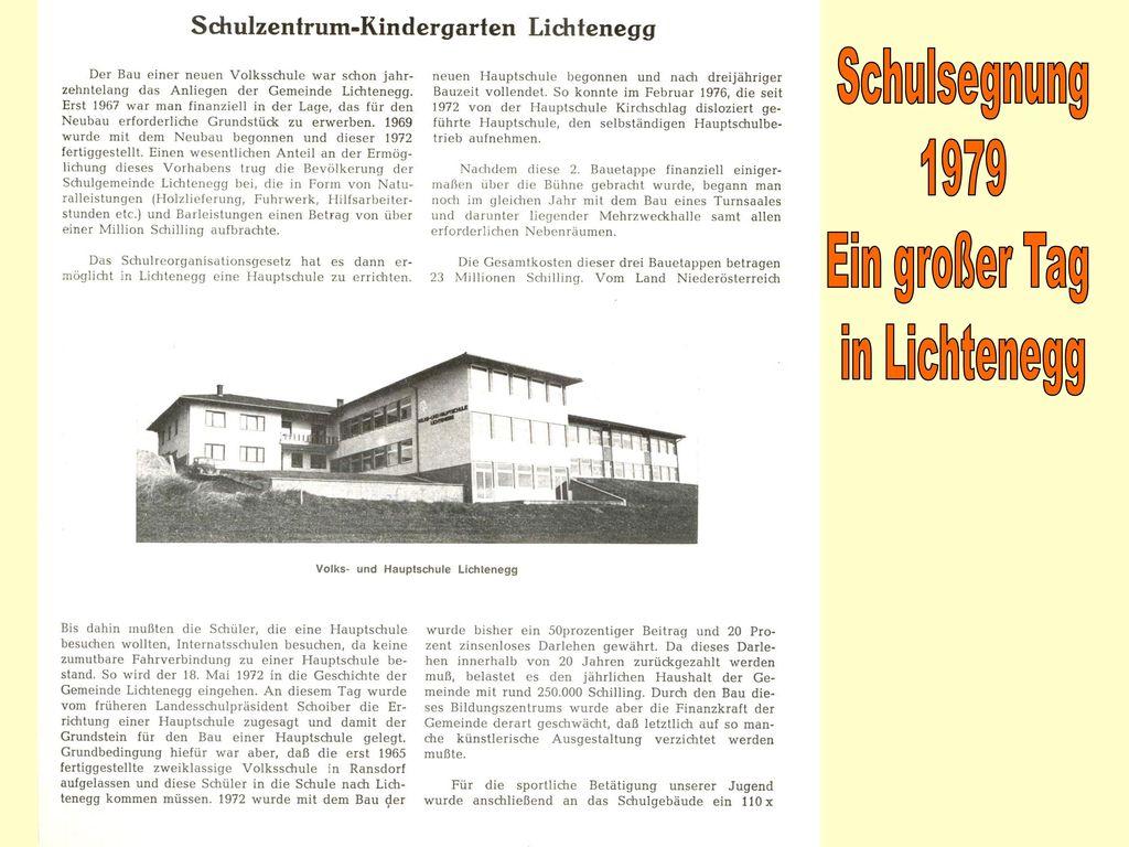 Schulsegnung 1979 Ein großer Tag in Lichtenegg