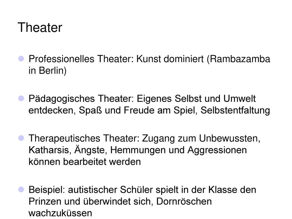 Theater Professionelles Theater: Kunst dominiert (Rambazamba in Berlin)