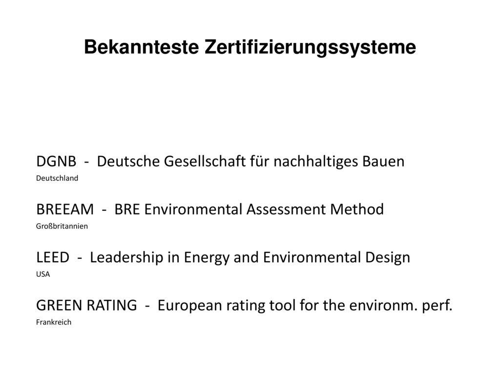 Bekannteste Zertifizierungssysteme