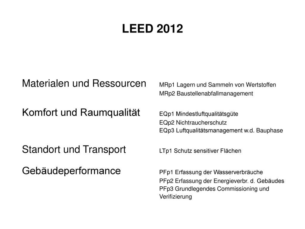 LEED 2012 Materialen und Ressourcen MRp1 Lagern und Sammeln von Wertstoffen. MRp2 Baustellenabfallmanagement.