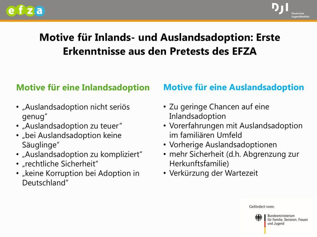 Motive für Inlands- und Auslandsadoption: Erste Erkenntnisse aus den Pretests des EFZA
