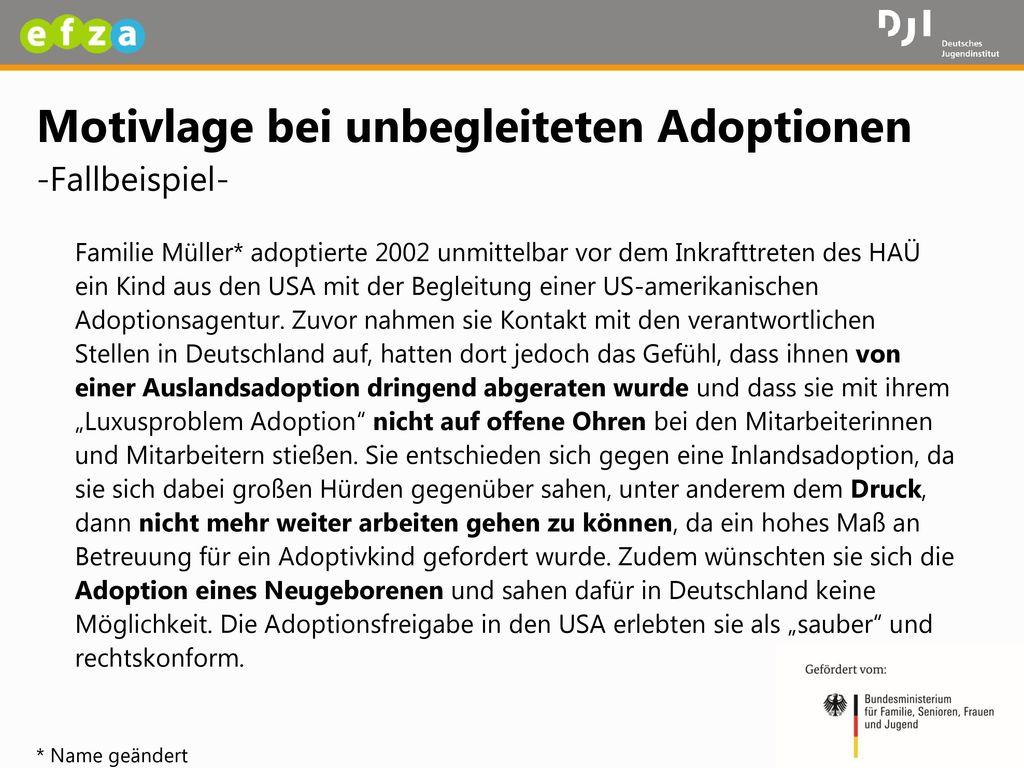 Motivlage bei unbegleiteten Adoptionen -Fallbeispiel-