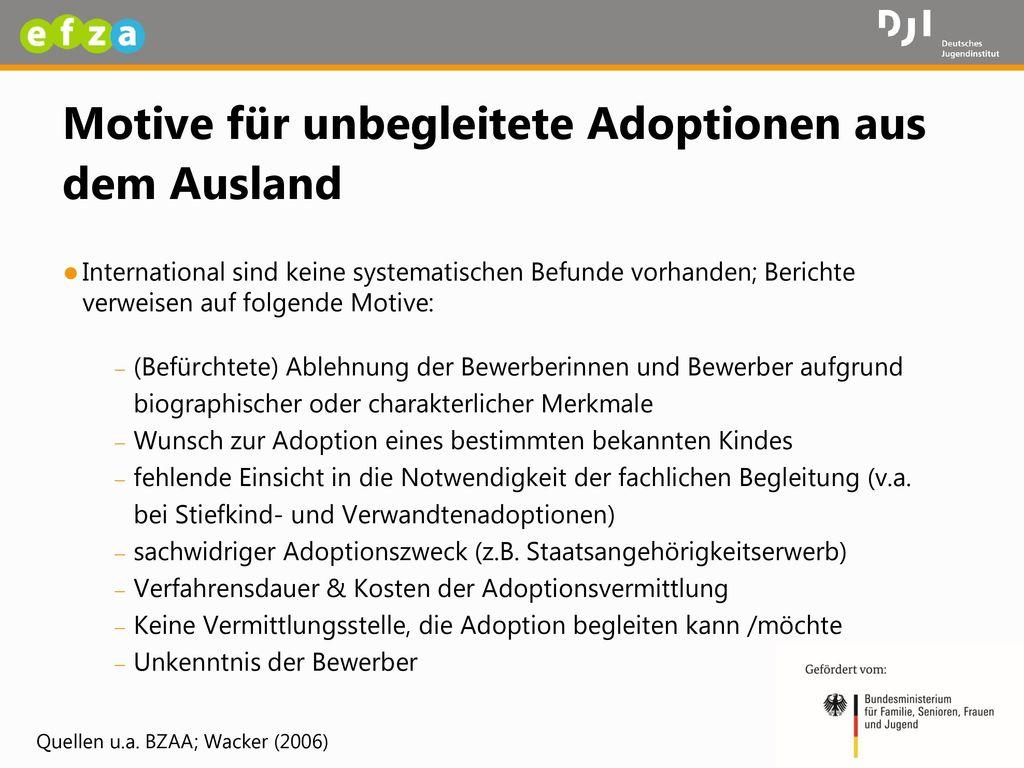 Motive für unbegleitete Adoptionen aus dem Ausland