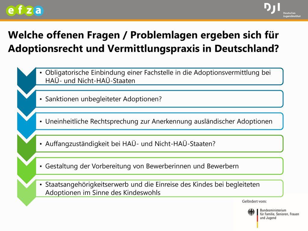 Welche offenen Fragen / Problemlagen ergeben sich für Adoptionsrecht und Vermittlungspraxis in Deutschland