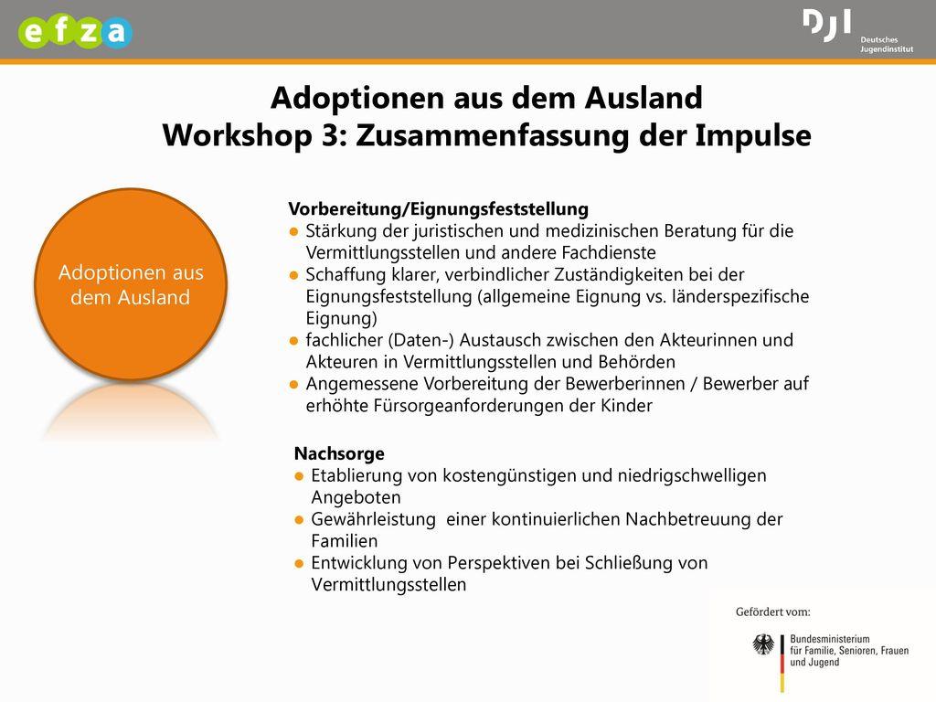Adoptionen aus dem Ausland Workshop 3: Zusammenfassung der Impulse