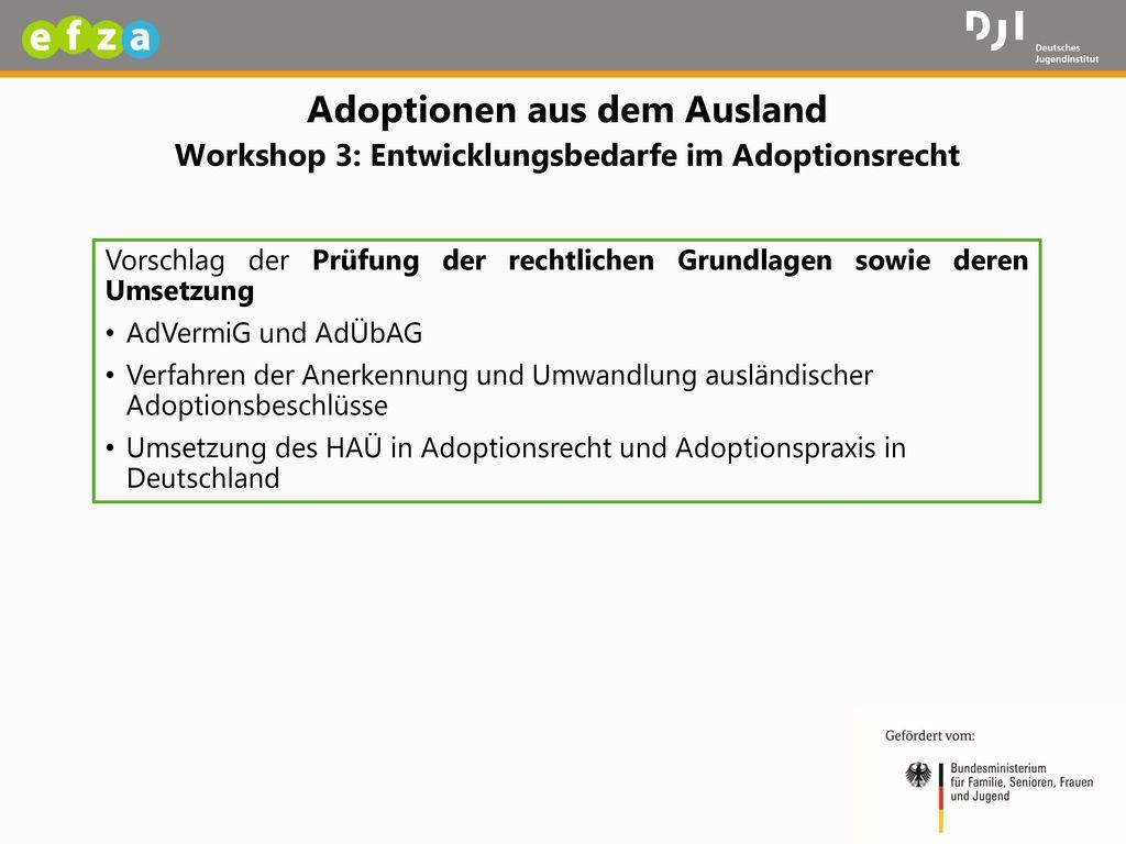 Adoptionen aus dem Ausland Workshop 3: Entwicklungsbedarfe im Adoptionsrecht