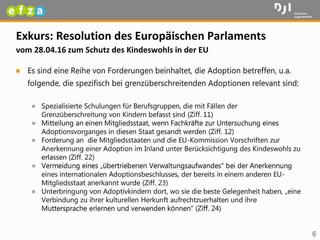 Exkurs: Resolution des Europäischen Parlaments vom 28. 04
