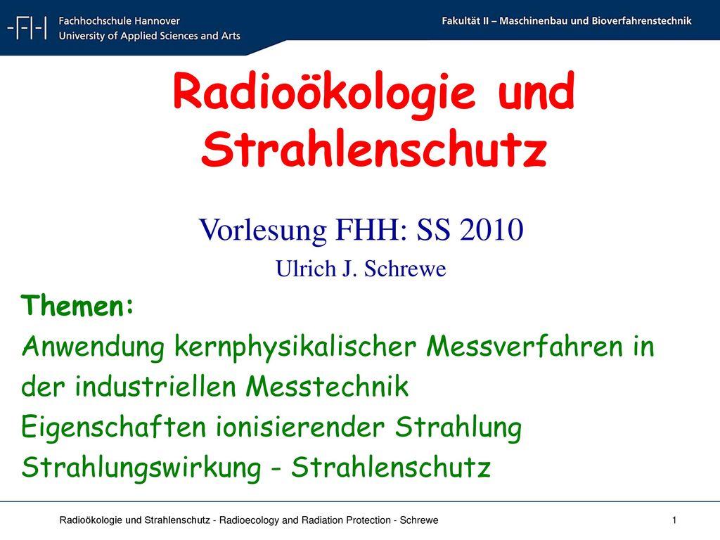 Radioökologie und Strahlenschutz