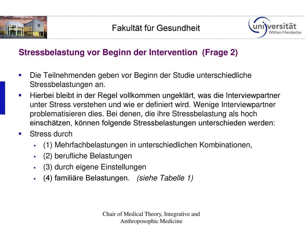 Stressbelastung vor Beginn der Intervention (Frage 2)