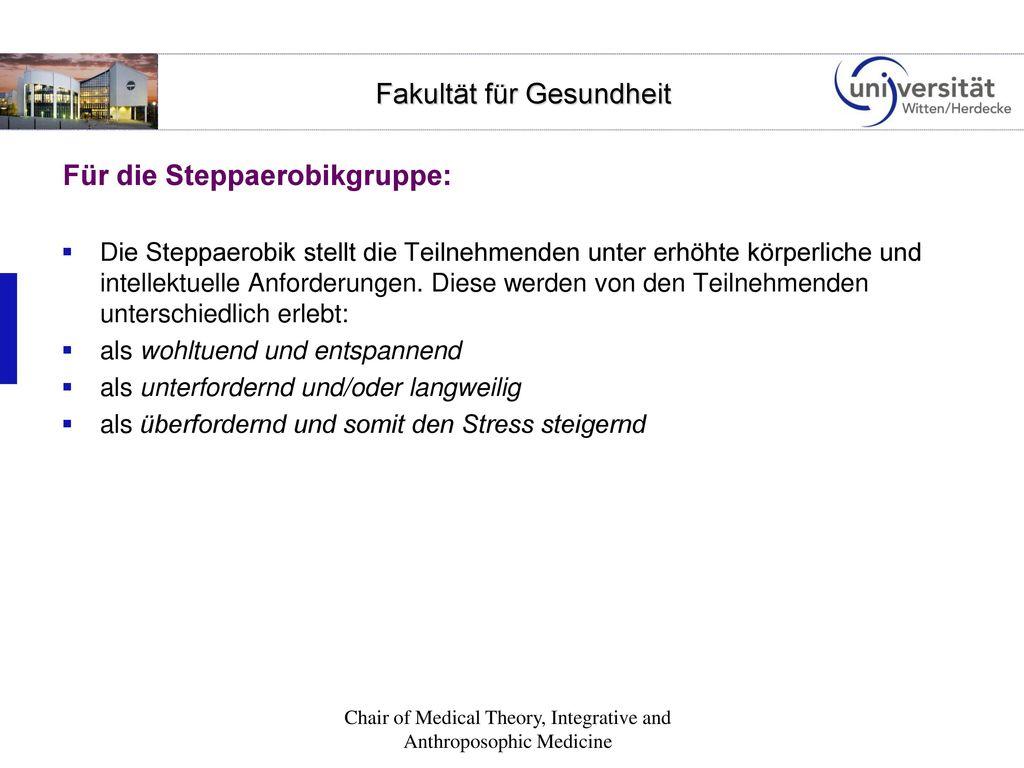 Für die Steppaerobikgruppe: