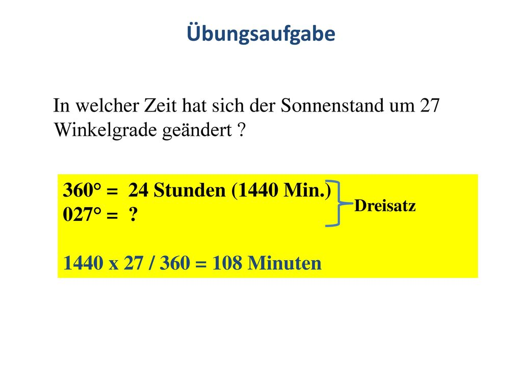 Übungsaufgabe In welcher Zeit hat sich der Sonnenstand um 27 Winkelgrade geändert 360° = 24 Stunden (1440 Min.)