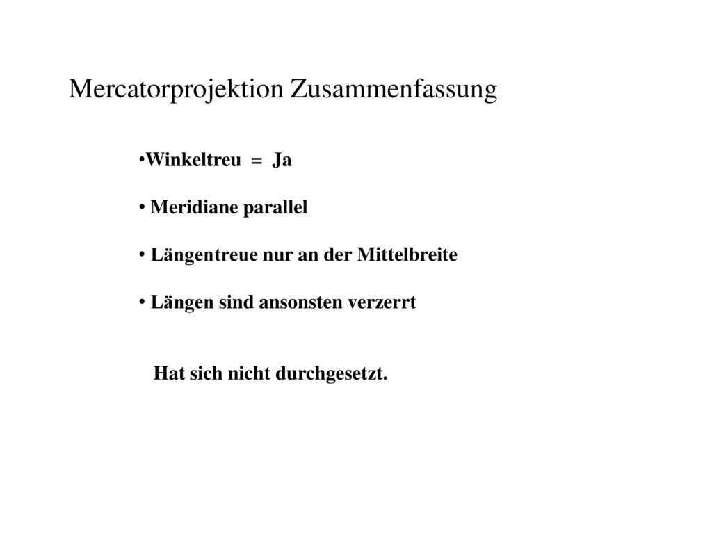 Mercatorprojektion Zusammenfassung