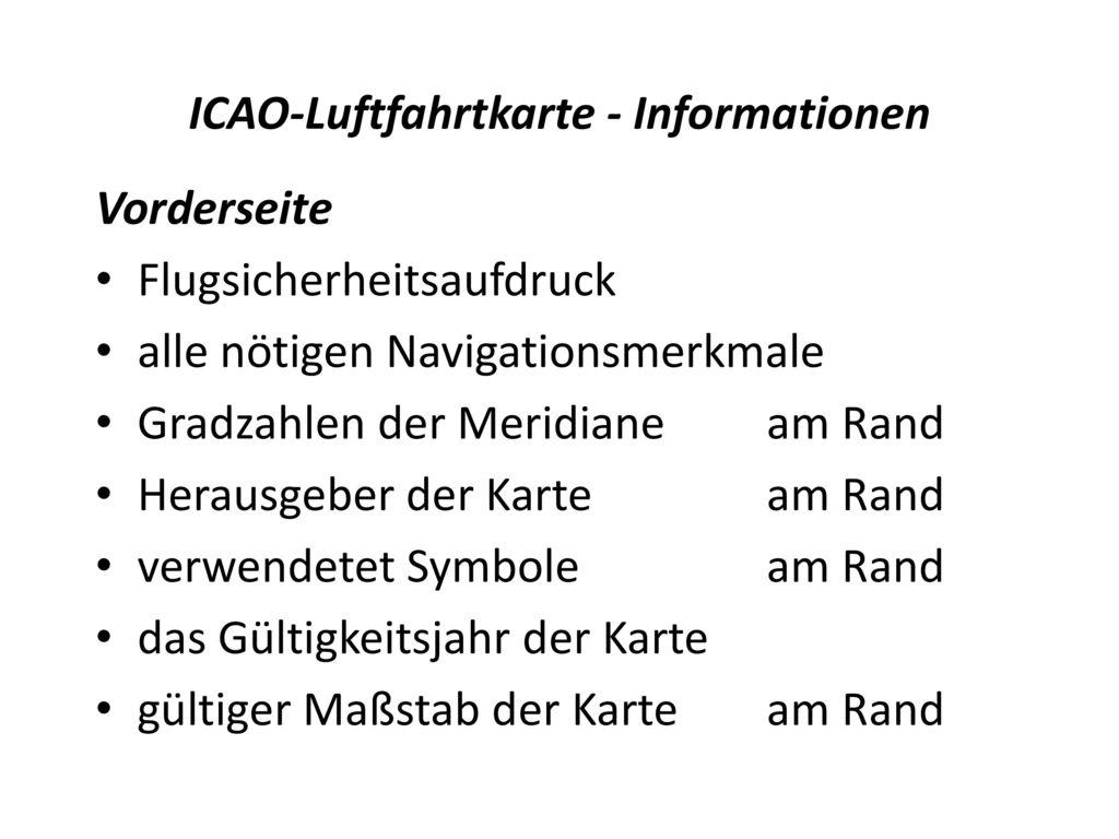 ICAO-Luftfahrtkarte - Informationen