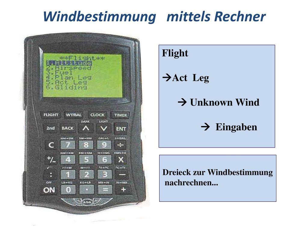 Windbestimmung mittels Rechner