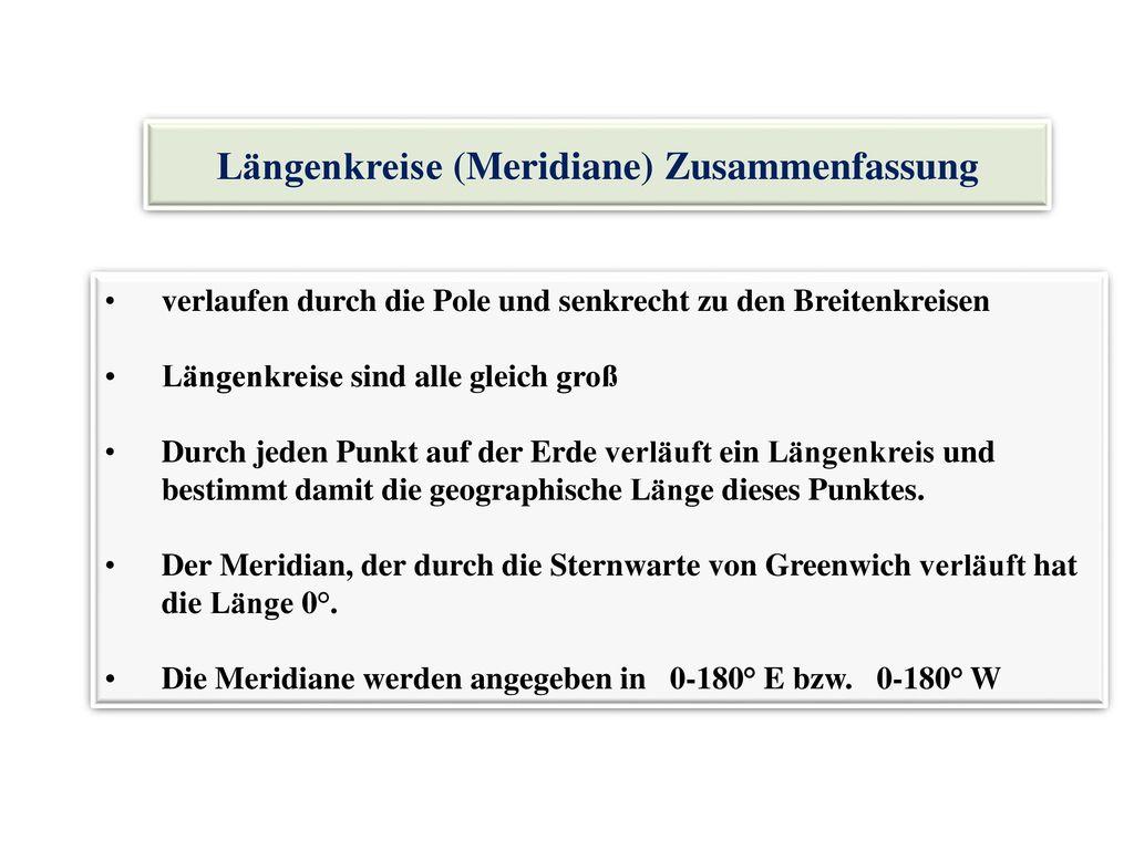 Längenkreise (Meridiane) Zusammenfassung