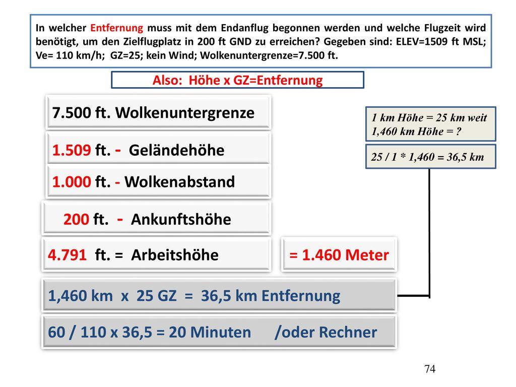 Also: Höhe x GZ=Entfernung