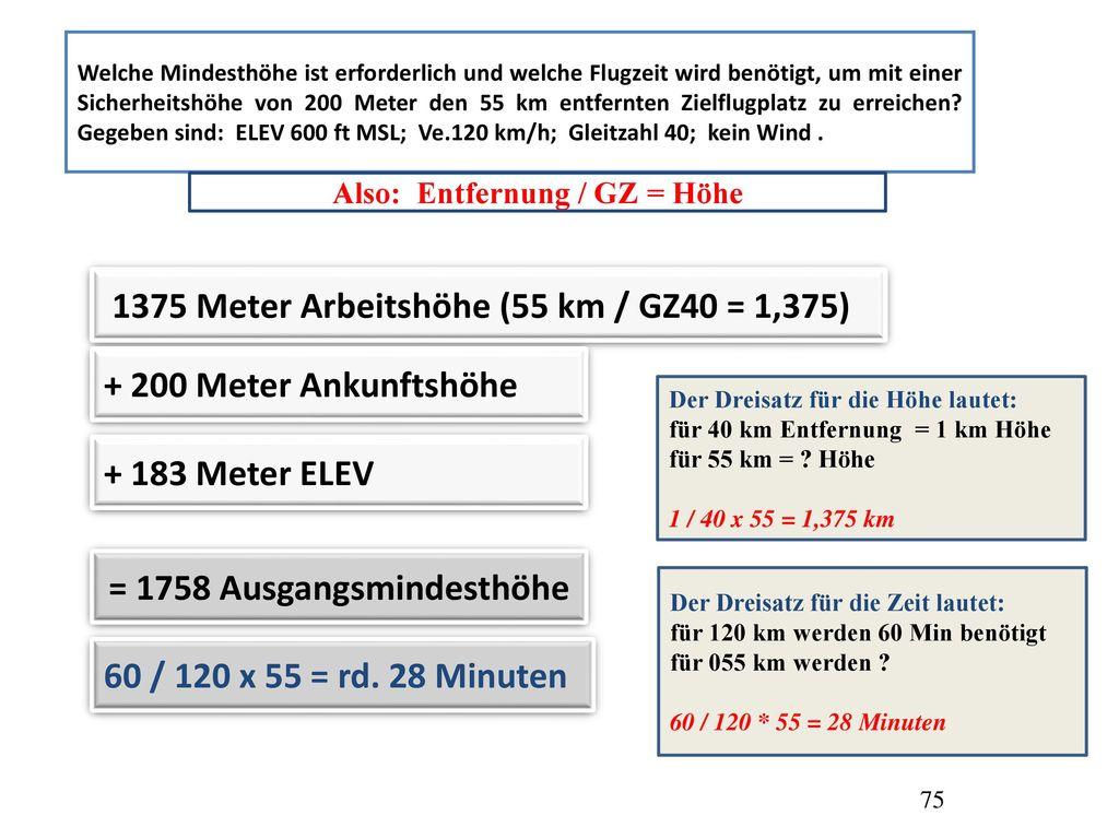 Also: Entfernung / GZ = Höhe = 1758 Ausgangsmindesthöhe